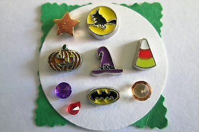 HALLOWEEN Floating Charms Set: Witch Hat Bat Pumpkin Candy corn Star 2 Gems](Floating Witch)