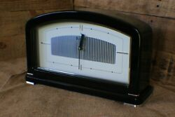 BULOVA AURA Gloss Black Table Mantle Shelf Modern Quartz Clock B7371 a5