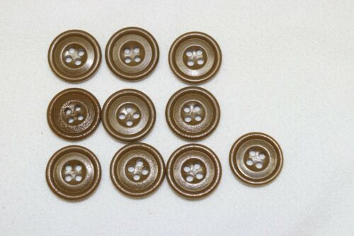 "US Butterscotch Brown buttons 4 holes indented center 3/4""=19mm  lot of 10 B703"