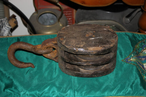Antique Nautical Ship Block Double Pulley-Large Size Pulley-Nautical Decor