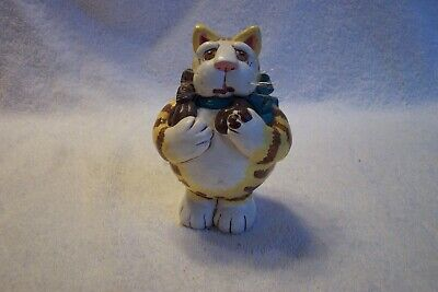"Vicki Thomas Hand Carved Wood Standing Kitty Cat 4.5"" Tall Orange Stripe"