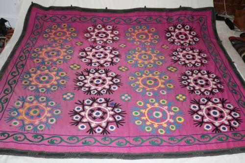 Suzani Vintage Uzbek Silk Handmade Embroidery Dowry Wall Hanging Bedspread