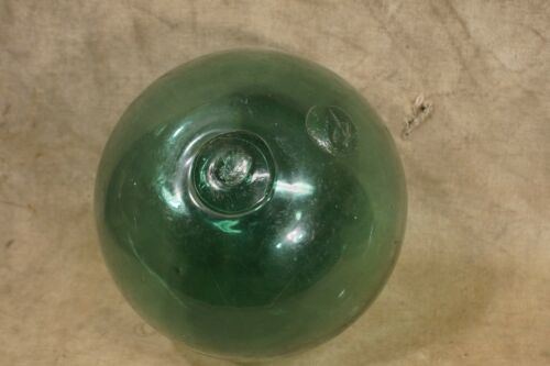 Antique Japanese Hand Blown Green Glass Buoy Float Signed Original