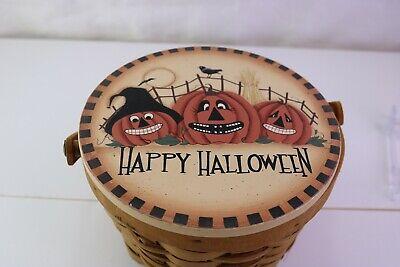 Happy Halloween Basket Three Pumpkins Fence Moon Crow Bird Bat Ceramic Lid