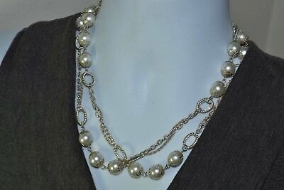 - STUNNING VINTAGE SILVER TONE FAUX PEARL STATEMENT NECKLACE COSTUME JEWELRY