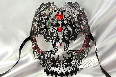 Men Sugar Skull Laser Cut RED Rhinestone Masquerade Metal Mask Unisex Halloween - Man Sugar Skull Halloween