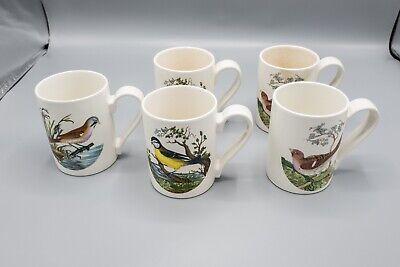 READ Portmeirion Birds of Britain Coffee Mugs Set of 5 FREE USA SHIPPING
