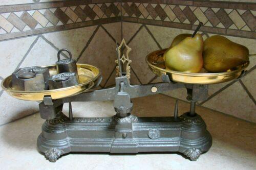 Rare Antique French Kitchen 5 Kilo Kraft Scale Scales Vintage Brass Pans Weight
