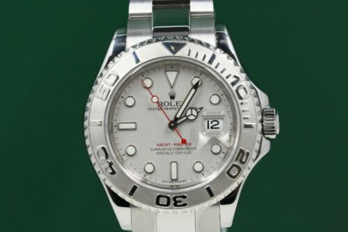 Rolex 40mm Yacht-master 16622 Stainless Steel Band Platinum Dial Platinum Bezel