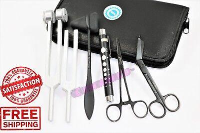 Premium Set Of 6pcs- Penlight Tuning Fork C 128 C 512 Forceps Scissors