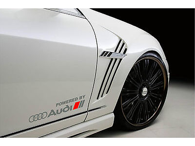 Powered by Audi Racing Sport S Line Decal sticker emblem logo SILVER/R Pair