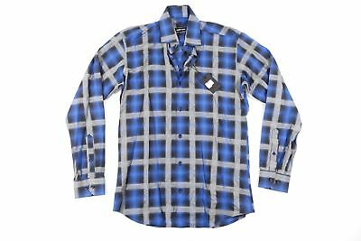JARED LANG PLAID CHECK BLUE SMALL BUTTON FRONT SHIRT MENS NWT NEW