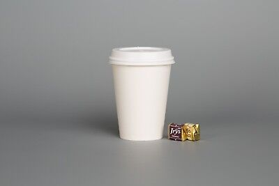 White Paper Cups (WHITE PAPER CUPS Single Wall Disposable 8oz 12oz & SIP LIDS for Coffee Shop Cafe)
