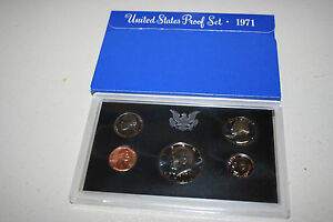 1971 US Coin Proof Set 5 Coins Kennedy Half Dollar Birth Year Free Shipping 6600