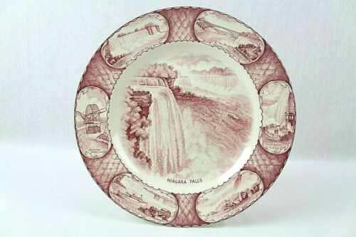 Swinnertons Staffordshire Rose Colored Niagara Falls Souvenir Plate