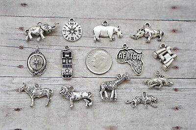 13pc or 5pc African Safari Charm Set Lot Collection / Africa,Jeep, Elephant,Lion African Elephant Charm