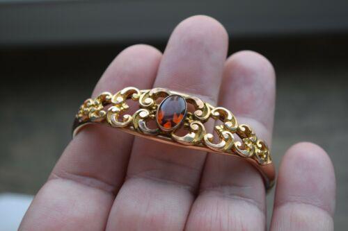 Antique Bates & B. signed Art Nouveau Gold-Filled hinged Bangle bracelet Amber