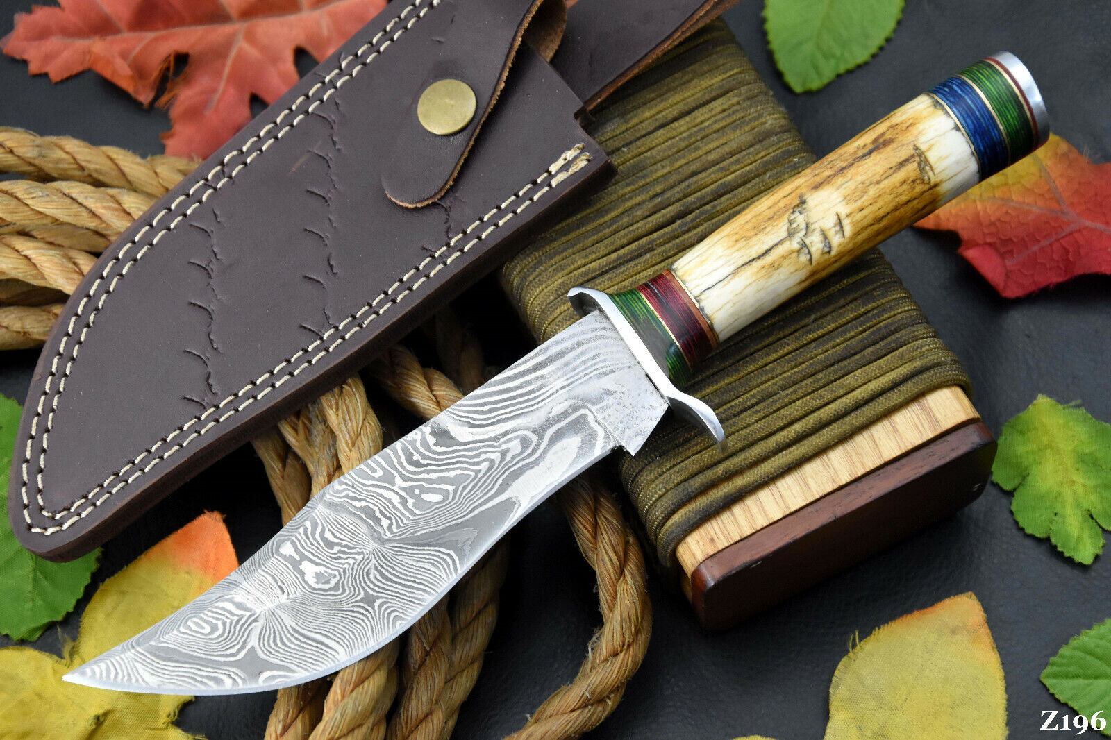 Custom Damascus Steel Hunting Knife Handmade With Stag Horn Handle Z196  - $14.99