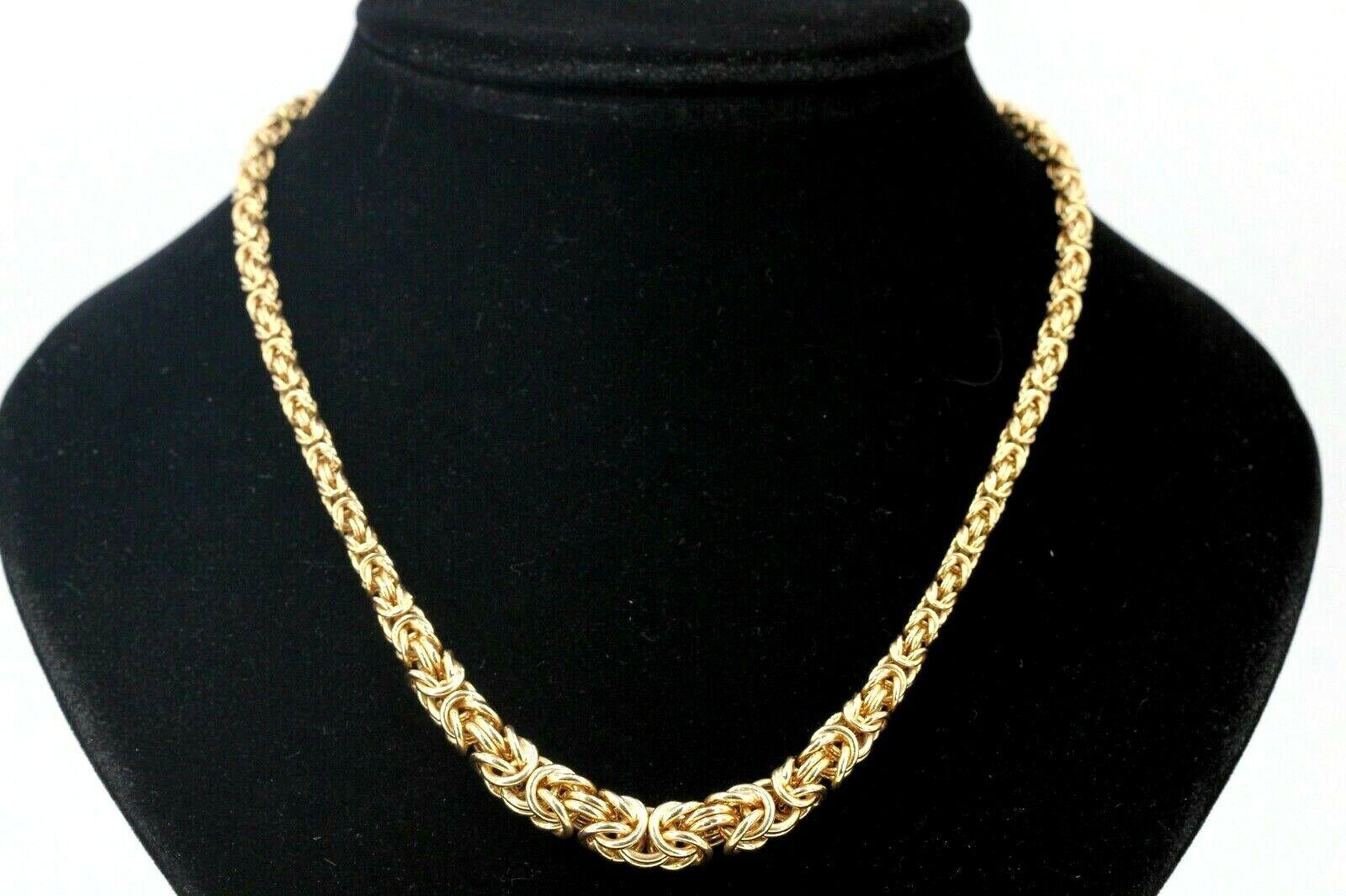 Königs Kette Gold 375 9K Gelbgold Gewicht 16,69g Verlauf 46cm Breite bis 8,2mm