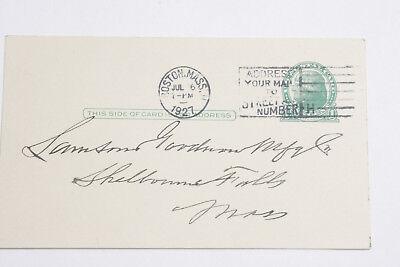 1927 Lamson Goodnow National Coal Sale Co Postcard Canceled Stamp Ephemera L145g