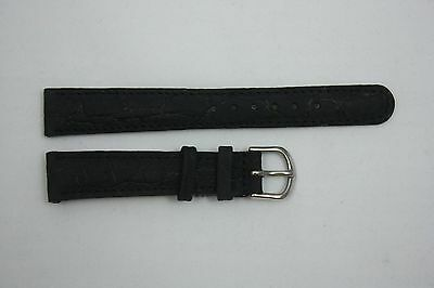 Nubuck Croco Grain 20mm Genuine Black Leather Watch BAND Strap