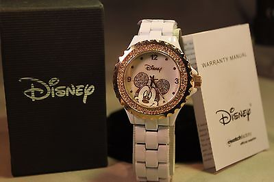 NEW DISNEY MICKEY MOUSE WATCH WITH RINESTONS GOLD TONE FACE
