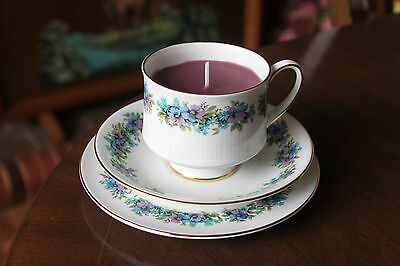 Teacup candle trio, Royal Standard Carnival, floral design, purple wax
