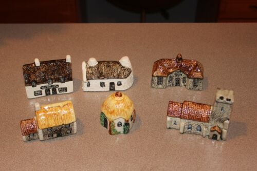 Set of 6 Tey Pottery England Britain in Miniatures Public House Cottages Church