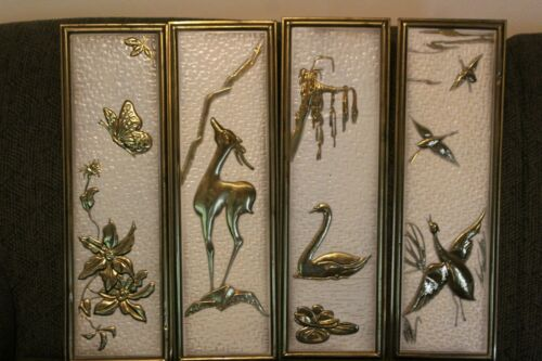 Vintage Lot of 4 Wall Hanging Plaques Holland Brass Metal Relief Retro