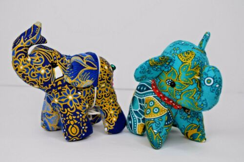 Lot of 2 India Elephant Stuffed Figurines Hand Made Decorations Blue w/ Bells