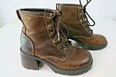 VTG Sketchers Combat Boots Sz 6 Chunky Heel Platform Brown Leather Spice Girls