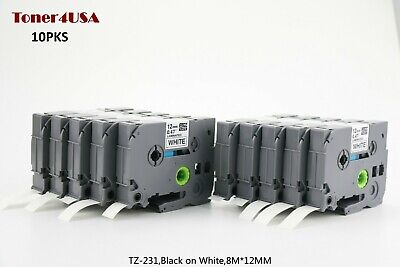 10 Tze-231 Tz 231 12mm Black On White Compatible Brother P-touch Laminated Tape