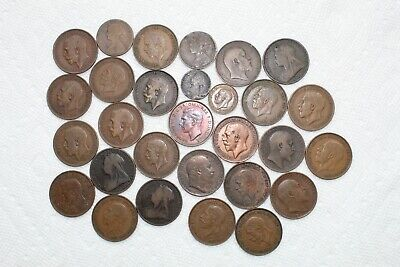 UK(Great Britain) Bronze Coins, Farthing(2), Half Penny(2), Penny (25),1860-1938