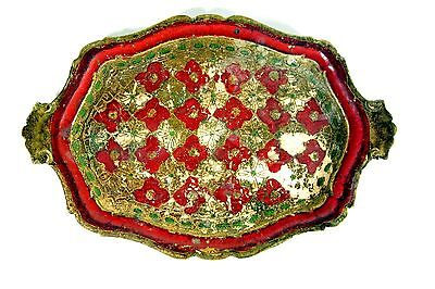 altes Tablett Massivholz schön bemalt Handarbeit Italy antike Originale