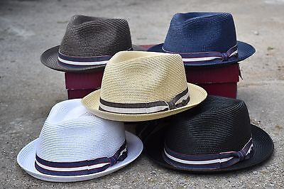 Mens Summer Fedora Hat, Poly braid Stingy Brim, Crushable & Light Weight EPf2692
