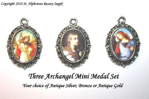 Three Archangel Medal Set | St. Michael Gabriel Raphael | Silver, Bronze or Gold
