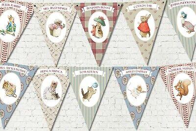 ter Rabbit Vintage Print Style Bunting/Banner & Ribbon (Ribbon Banner)