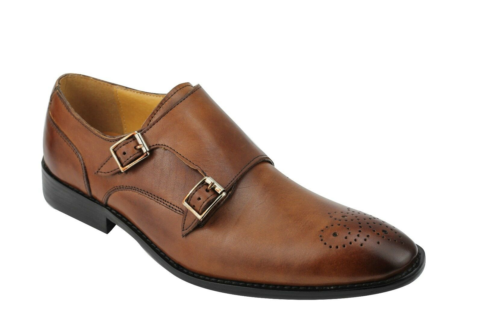 Details zu Mens Real Leather Brown Vintage Double Monk Strap Brogues Classic Formal Shoes