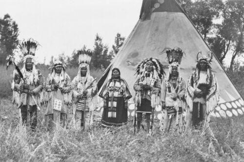 Siksika Indians-Blackfeet- Men & Women in Front of Tipi-1913 - 8x12 Photo