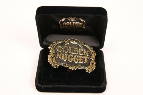 GOLDEN NUGGET GAMBLING HALL BELT BUCKLE ~Black And Gold