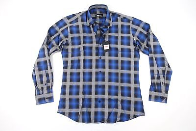JARED LANG PLAID CHECK BLUE LARGE BUTTON FRONT SHIRT MENS NWT NEW