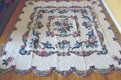 "New Handmade Applique & Embroidery Quilt, Fantasy Garden , Size: 87"" x 87"""
