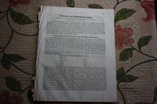 1858 Fragment Zeitschrift Bergbau / Steinkohle Bergwerke England ...60 Seiten