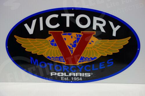 "VICTORY MOTORCYCLES DEALERSHIP LIMITED DIE CUT RARE ENAMEL SIGN 17.5""x30"""