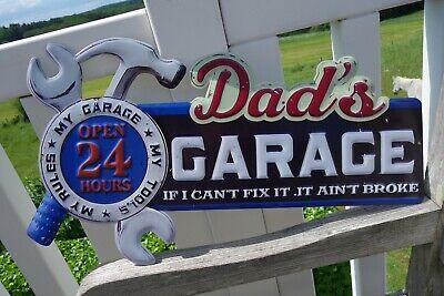 Shabby Blechschild Dads Garage Open 24 Hours Haus Garten Retro Stil 34x61 cm NEU