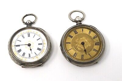 x2 Ladies Antique Victorian Sterling Key Wind Fob Pocket Watch 76g A/F #28905