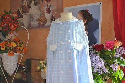 Robe  dior 3 ans haut double bleu carreaux col clodine boutons recou colissimo