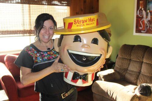 Vintage Straw Hat Pizza Restaurant head 23 X 18 inches