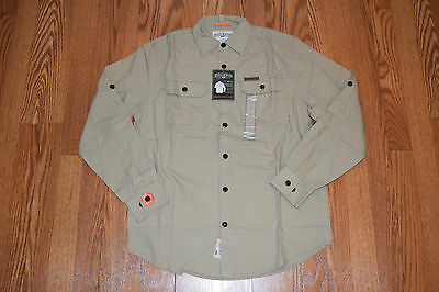 NWT Mens FIELD & STREAM Khaki Brushed Cotton Poplin Long Sleeve Shirt S (Cotton Poplin Field Shirt)
