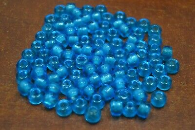 100 PCS AQUA BLUE PONY CROW GLASS BEADING BEADS (Glass Pony Beads)